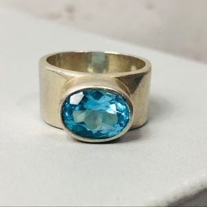 Silver with blue oval gemstone ring wide band 6